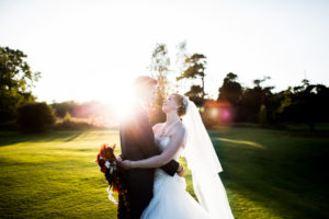 Linden Hall wedding photographer with couple at sunset