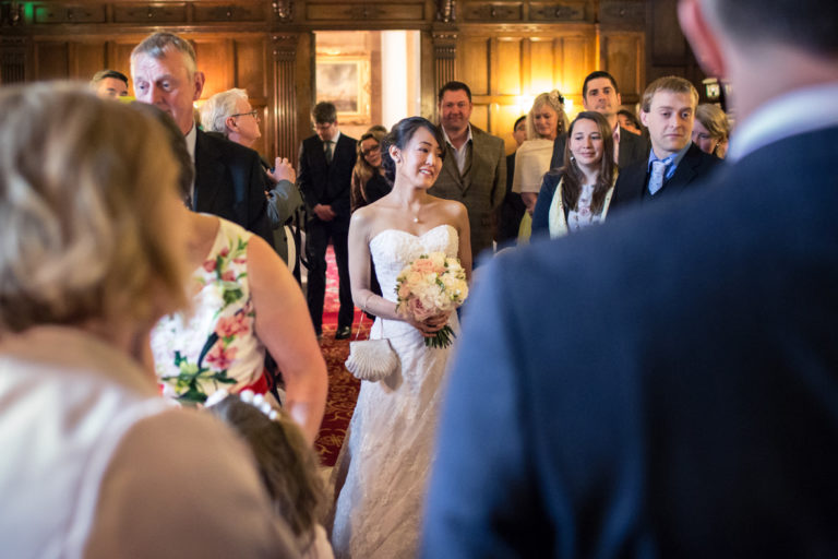 Mihoko walking down the ailse at Mansion House wedding