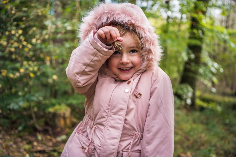 Finding pine cones during Chopwell Woods Family Photography