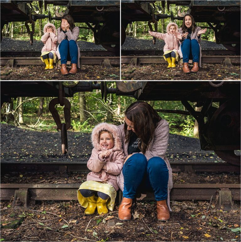 Sitting by the train carriage for Chopwell Woods Family Photography