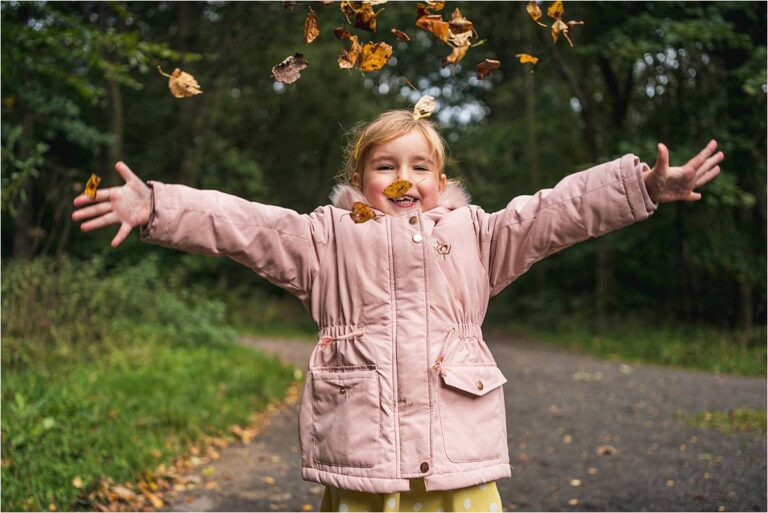 Chopwell Woods Family Photography with lots of autumn leaves fun